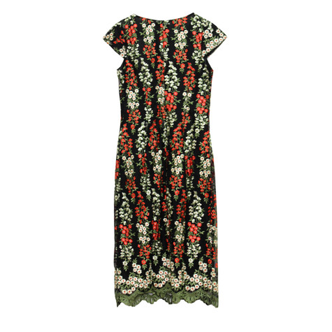 Zapara Black Red Flower Dress