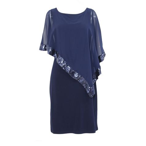 Scarlett Navy Cape Chiffon Dress