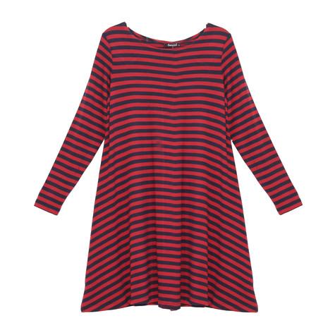Twist Navy & Red Stripe Long Sleeve Dress