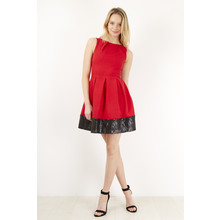 Closet Red & Black Pleat Contrast Border Dress