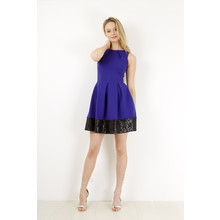 Closet Royal Blue & Black Pleat Contrast Border Dress