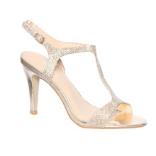 Moow Gold T Strap Glam Shoe