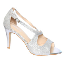 Moow Silver Cross Strap Glam Shoe
