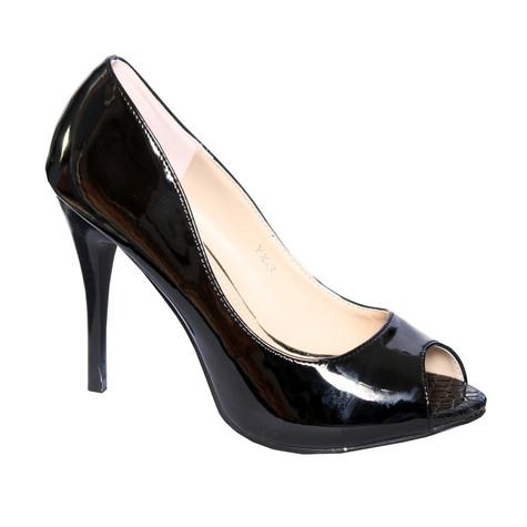 Forever Follie Black Patent Peep Toe Shoe
