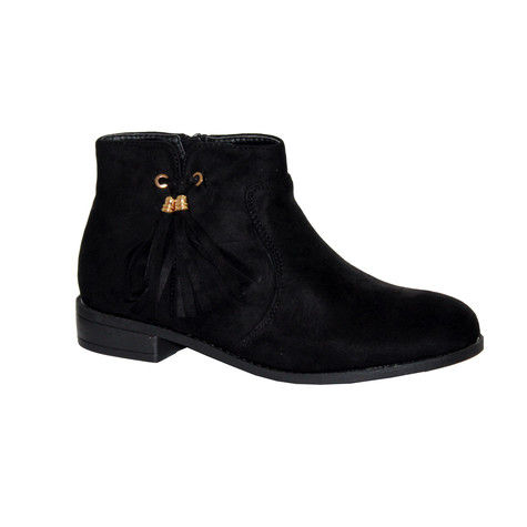 Style Shoes Black Micro-Fibre Plain Front Tassel Bow Style Boot