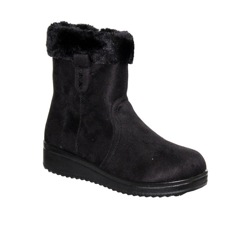 Emella Black Wedge heeled Fur Lined Comfort Boot