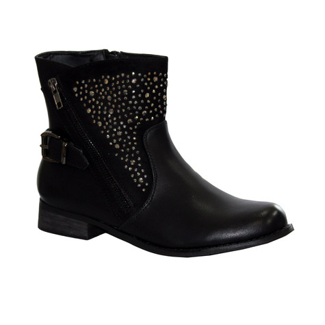 Creamy Moda Black Biker look Plain Front Boot with Sparkle Detail.
