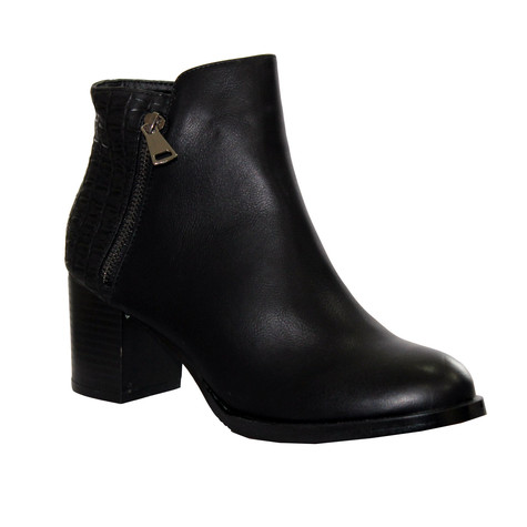 Poti Pati Black Patent Chelsea Style Boot with Croc Print Detail