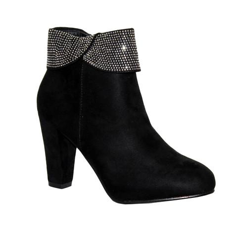 Poti Pati Black Micro-Fibre High Heel Boot with a Diamonte Collar