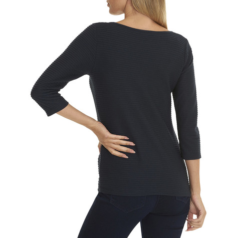 Betty Barclay Round Neck Ripped Navy Top