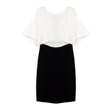 Sangria Black & Ivory Cape Dress
