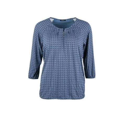 Bianca Jilly Navy Pattern Round Neck Blouse