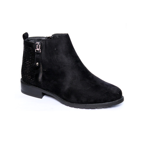 Million Bonheures Black Micro Fibre Chelsea Glam Boot