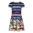 Yumi Girls Navy Stripe Floral Dress