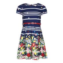 Yumi Girls Navy Stripe Floral Dress