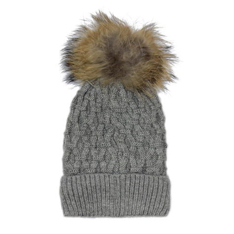 Phanie Mode Grey Fleece Lined Fur Ball Hat