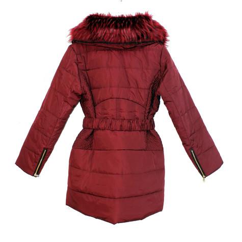 Kelya Wine Fun Fur Winter Coat - €70 -