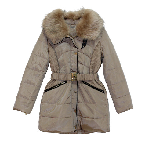 Kelya Beige Fun Fur Winter Coat - NOW €70 -