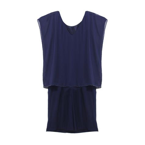 Scarlett Navy Chiffon Cape Dress
