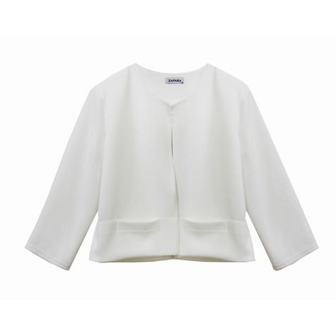 Zapara Off White Crop Jacket