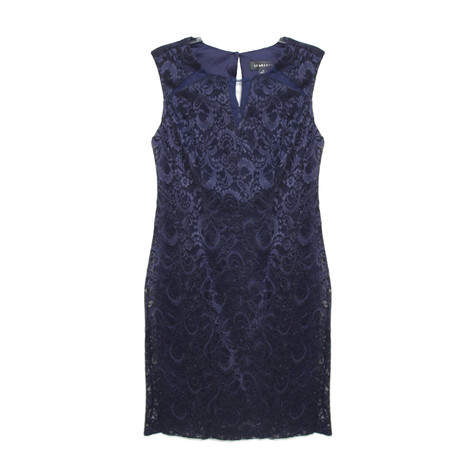 Scarlett Navy Lace Keyhole Dress
