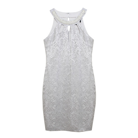 Scarlett Silver Lace Sequince Detail Dress
