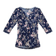 Twist Navy Floral Pattern Print Top