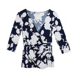 Zapara Navy Big Flower Pattern Print Top