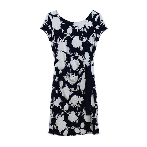 Zapara Navy White Large Leaf Print Dress
