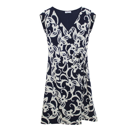 Zapara Navy and White Floral Print Pattern Dress