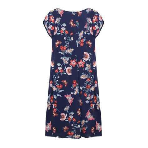Zapara Navy Floral Print Wrap Dress