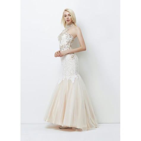 Lore Silver Full length ladies lacey gown