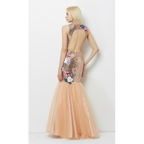 Lore Gold & Champagne Floral Pattern Dress