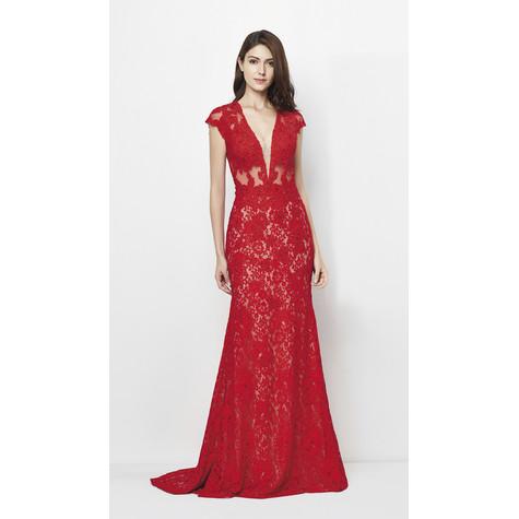 Lore Red Long Lace Dress
