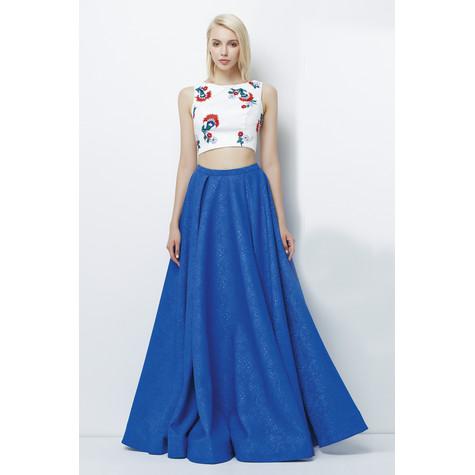 Lore Ivory & Blue Two Piece Long Dress