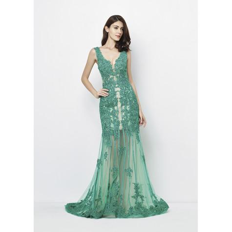 Lore Emerald Long Mesh Detail Dress