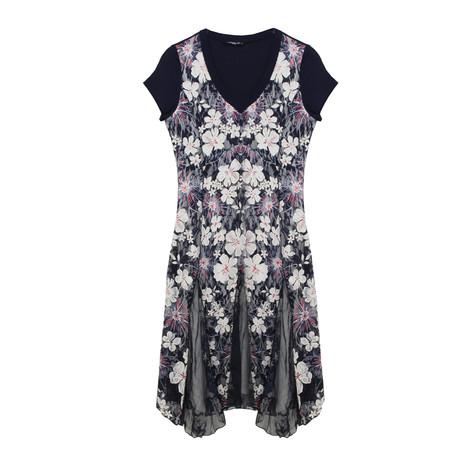 SophieB Navy Floral V-Neck Long Dress