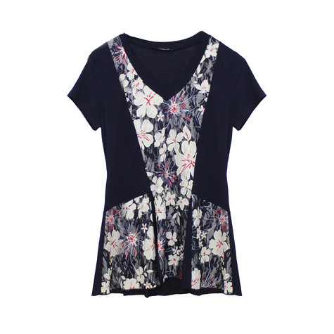 SophieB Navy Floral V-Neck Top
