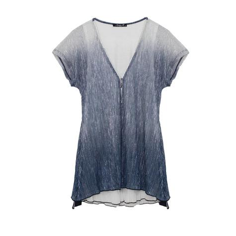 SophieB Blue Tie Dye Zip Detail Top