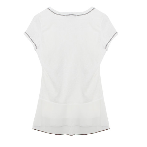 SophieB Cream Bead Round Neck Top