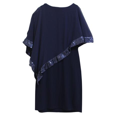 Scarlett Navy Cape Sequence Dress