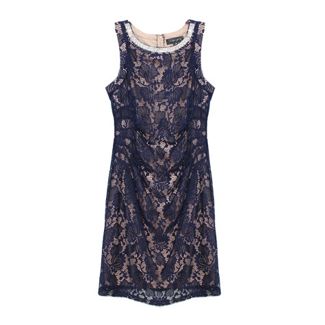 Scarlett Navy & Nude Sequence Neck Detail Dress