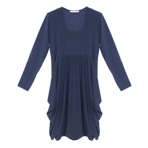 Flam Mode Navy Round Neck Jersey Dress