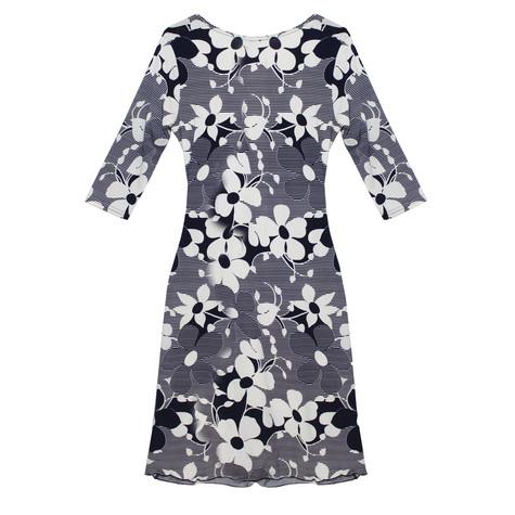 Zapara Navy & Cream Fine Stripe Floral Pattern Dress