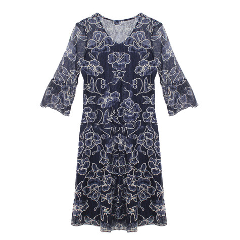 Zapara Navy & Cream Floral Pattern Dress