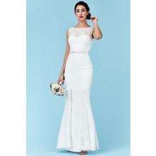 Goddiva Open Back Maxi Wedding Dress with Embellished Belt - White