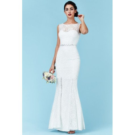 Goddiva Open Back Maxi Wedding Dress with Embellished Belt - White