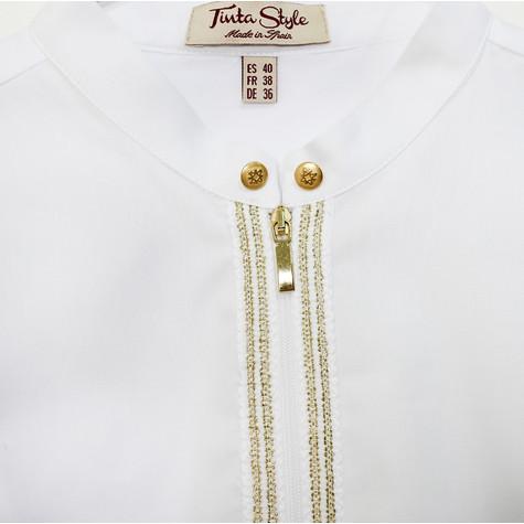 Tinta Style White Gold Zip Detail Blouse