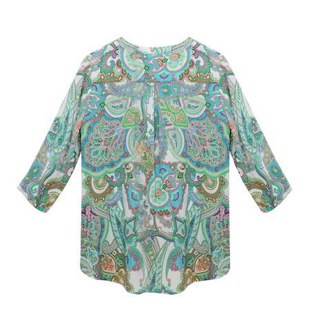 Tinta Style Paisley V-Neck Button Up Blouse