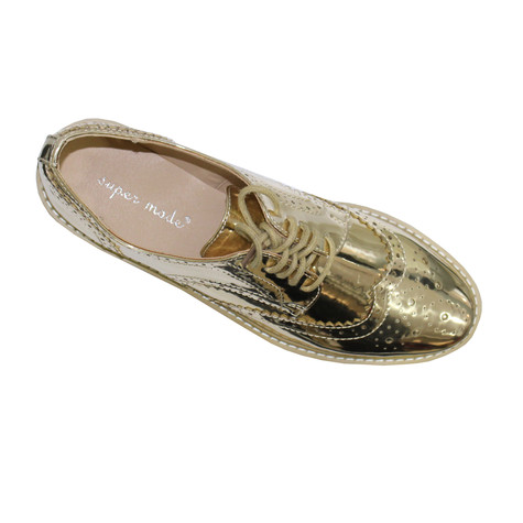 Bella Gold Metallic Laced Brogues